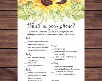 Sunflowers What's in Your Phone Bridal Shower Game, Whats in Your Phone Game, Bridal Shower Game Instant Download Printable