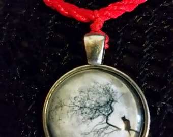 Dreamy Tree Cat Glass Cabachon Necklace