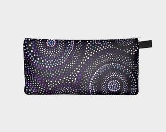 Purple mandela pencil case, cosmetic bag, purple bag, dots motif pencil bag by Felicianation Ink
