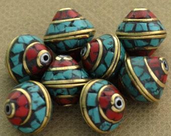 8 Beads  - Brass Tibetan Nepalese Nepali Turquoise Coral Inlaid Tibet Nepal B70