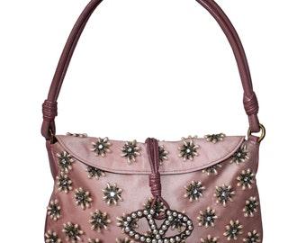 Valentino Garavani Vintage Pink Pearl Embellished Shoulder Bag