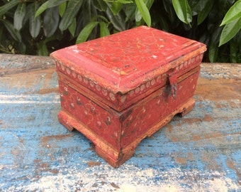 Old Hand Painted Indian Wooden Treasure Trinket Box