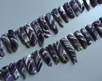 Natural Amethyst Stick Beads,Raw Grain Amethyst Crystal Quartz Point Beads  Polished Top Drilled  Amethyst Beaads Full or Half Strand  0309