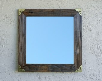 Reclaimed Wood Mirror with Gold Metal Corners. Rustic Mirror. Eco Friendly. Framed Mirror. Bathroom Mirror. Framed Mirror. Wedding Gift