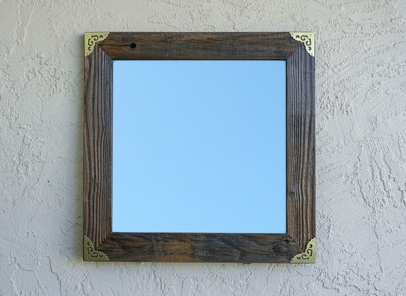 Gold Metal Wall Mirror: Reclaimed Wood Mirror With Gold Metal Corners. Rustic Mirror