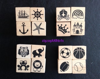 Mini Rubber Stamps on Wood Block, Various Theme, Nautical, Princess, Animals, Sports, Your Choice of 1 Pack