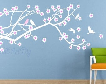 Tree wall decals large tree wall murals white tree by for Cherry blossom wall mural stencil