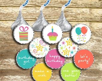 Hershey Kiss Stickers - Birthday Girl, Birthday Kisses, Birthday Stickers, Girl Birthday Kisses, Birthday Party Favors, Hershey Kisses Label