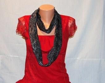 Black with Silver metallic fashion loop scarf
