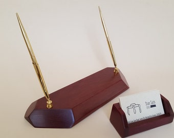 Purpleheart Pen and Pencil set and Business Cardholder