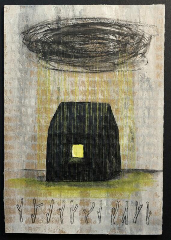 Art peinture originale sur carton brut by atanmouala on etsy for Peinture sur parpaing brut