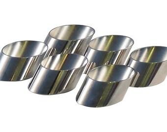 Slanted Silverplate Napkin Rings, Set of 6