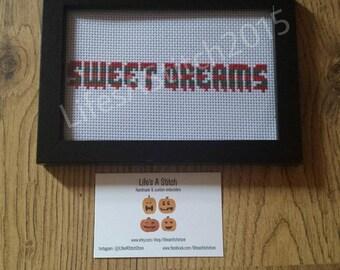 Nightmare On Elm Street: 'Sweet Dreams' - Framed Cross Stitch