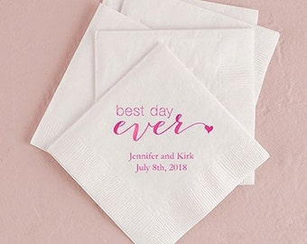 Best Day Ever Personalized Wedding Napkins (Pack of 100)
