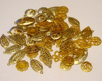 60 Piece Variety Pack Gold-Plated Charms and Pendants