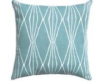Robert Allen Pillow Cover in Rain, Handcut Shapes Throw Pillow, Geometric Double Sided Throw Pillow, Hidden Zipper, 13 Sizes Available