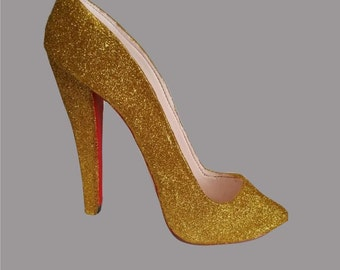 Yellow Gold shimmer/glitter sugar shoe - High Heel- Pump - Red Bottom- Cake Topper