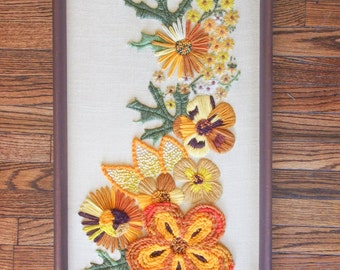 LARGE Vintage Crewel Yarn Flower Portrait