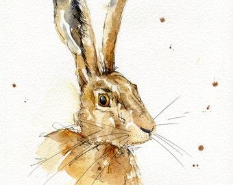 Hare Original Watercolour