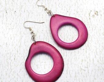 Purple Earrings - Tagua - Fair Trade Jewelry - Chunky Earrings - Tropical Earrings - Eco Friendly Earrings - Exotic Earrings 3540