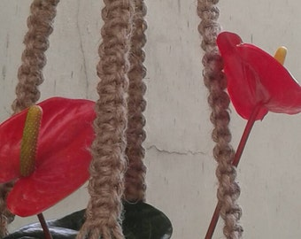 "Free shipping - Natural macrame plant hanger jute,49"" pot holder/ Retro/vintage style hanging planter indoor/outdoor / large sized"