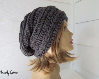 Slouchy Beanie/Slouchy Hat/Unisex Slouchy Beanie/Gray Beanie/Ready to Ship/Gift for Her/Under 25/Gift for Him/Gray Slouchy/Teen Slouchy Gift