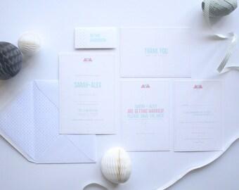 Geometric Wedding Invitation Set. Modern Wedding Invites. Quirky Wedding Invitations. Wedding Invitation Sample