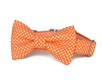Orange Polka Dot Dog Bow Tie Collar, Bow Tie Dog Collar, Orange Bow For Dog, Polka Dot Dog Collar, Bow Tie For Dog, Orange Dog Bow Tie