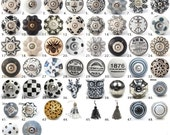 Vintage Ceramic Cabinet Door Knobs  Various Black White  Grey Kitchen Cupboard Dresser Handles  Drawer Pulls