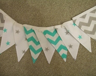 Beautiful Cotton Double Sided Bunting - Grey and Mint Stars and Chevrons- Nursery, Baby Boy, Christening
