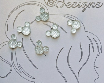Clear Mouse Ears Hair Coil Twist Swirls (6)  All Occasion, Wedding Party, Bride, Cheer, Proms, School or Special Event