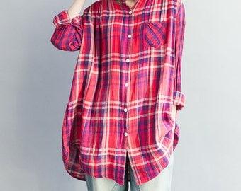 women loose cotton blouses/women leisure blouses/women spring clothing/BJTOCT23N342