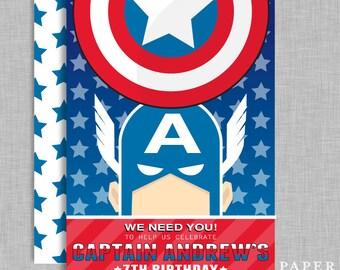 Capt america invite | Etsy