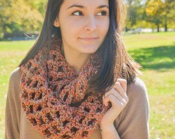 Crochet Lattice Infinity Scarf- Fall in Leaves- Lattice Scarf- Infinity Scarf- Crochet Infinity Scarf- Cowl Scarf- Chunky Infinity Scarf