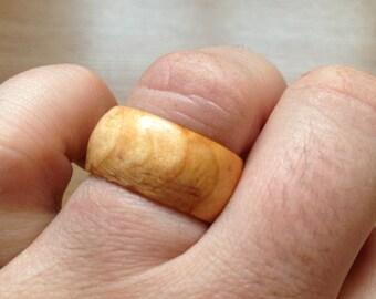 Men's Wooden Ring Size 8 1/2 - handmade from Irish Blackthorn Wood