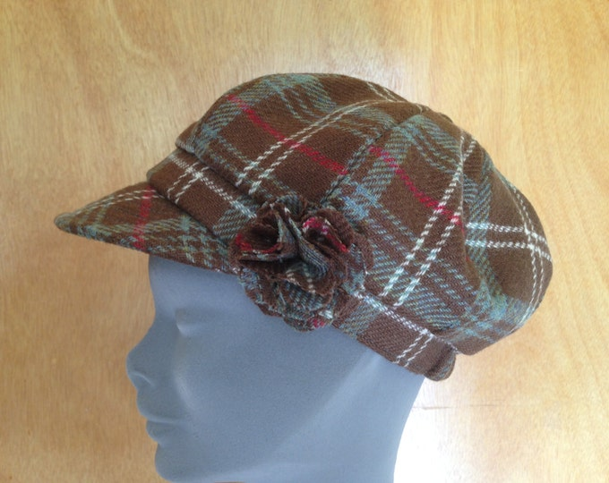 Ladies Newsboys Cap Hat - 100% Tweed Wool - Donegal Tweed Hats - Womens Irish Bakerboy Hats -Tartan Newsboy Cap - Plaid