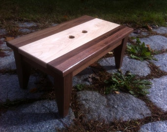 Walnut and Maple Step Stool Very Strdy