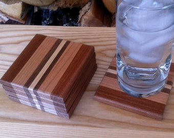 Square Wood Coaster Set of 5