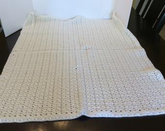 Vintage White Crochet Baby Blanket, Crib Bedding, Nursery Decor
