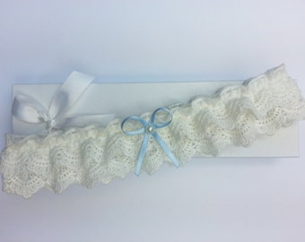 Frilly ivory lace garter, wedding garter, ivory garter, pearl garter, something blue wedding garter