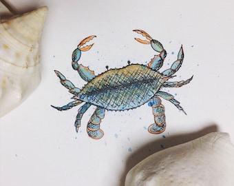 Blue Crab Print, Wall Decor, Art