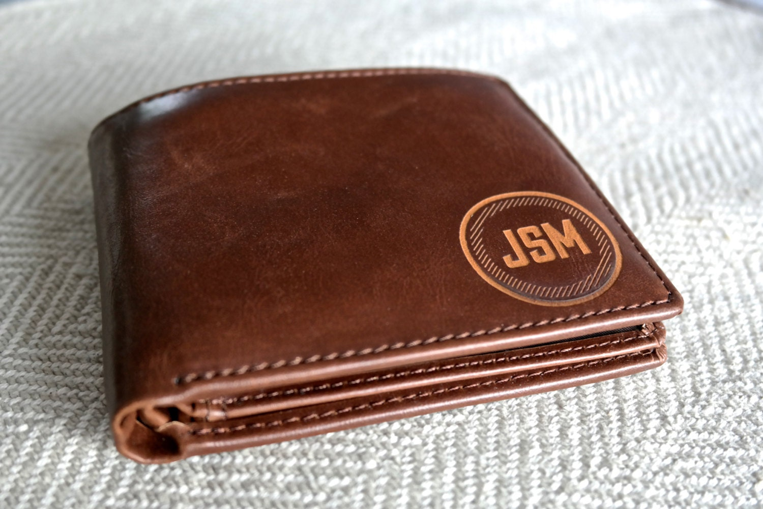 Groomsmen gift personalized mens wallet leather