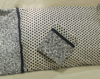 Black and White Dots and Swirl Queen Pillowcases