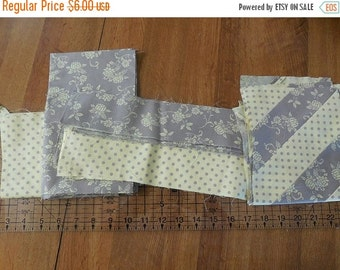 On sale Destash- Yellow and Gray Quilting Pieces, Squares and Remnants