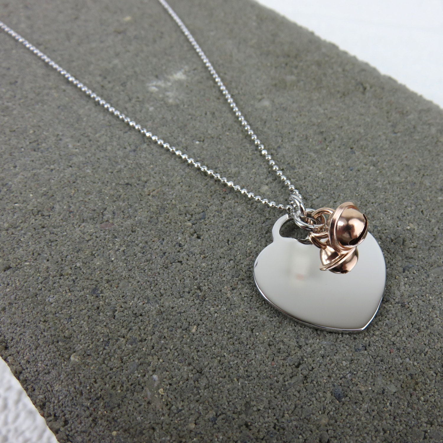 jingle bell heart necklaces