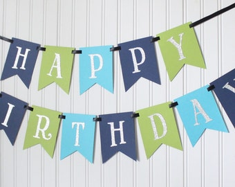 Silver, Navy, Blue, Green, Happy 1st Birthday Banner/ Boy Birthday/Prince Party/ Child Birthday/ Party Decoration/ Personalized Name/ Custom
