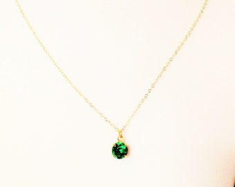 Emerald necklace, emerald pendant necklace, emerald jewelry, simple green necklace, minimalist necklace, gold dainty necklace, delicate