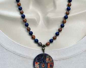 Blue and Orange Button Necklace and Earring Set