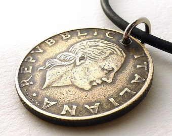 Italian necklace, Coin necklace, Italian jewelry, Leather necklace, Men's necklace, Gift for him, Bronze necklace, Coin pendant, Coins, 1978