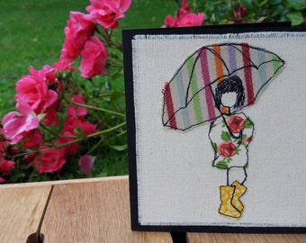 Singing in the rain - Hand embroidered greetings card